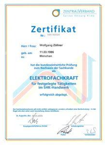 Zertifikat Wolfgang Zöllner - zertifizierter Sachverständiger Installation und Heizungsbau München